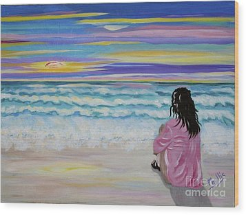 Woman By The Sea Wood Print by Phyllis Kaltenbach