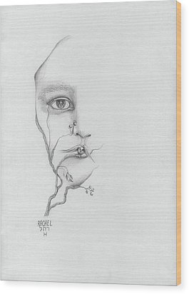 Woman Face Growing Out Of A Tree Branch Black And White Surrealistic Fantasy  Wood Print by Rachel Hershkovitz