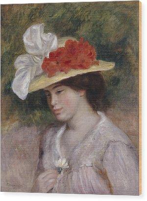 Woman In A Flowered Hat Wood Print by Pierre Auguste Renoir