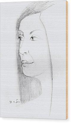 Woman In Black And White Long Hair Red Lips And Shoulders  Wood Print by Rachel Hershkovitz