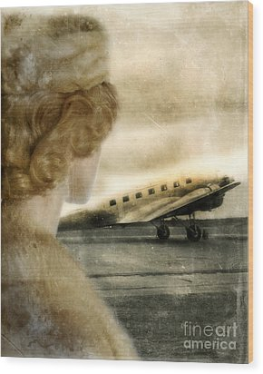 Woman In Fur By A Vintage Airplane Wood Print by Jill Battaglia