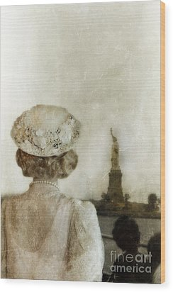Woman In Hat Viewing The Statue Of Liberty  Wood Print by Jill Battaglia