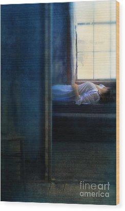 Woman In Nightgown In Bed By Window Wood Print by Jill Battaglia