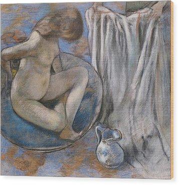 Woman In The Tub Wood Print by Edgar Degas