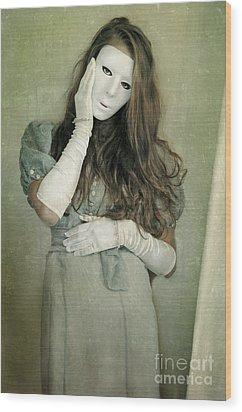 Woman In White Mask Wearing 1930s Dress Wood Print by Jill Battaglia