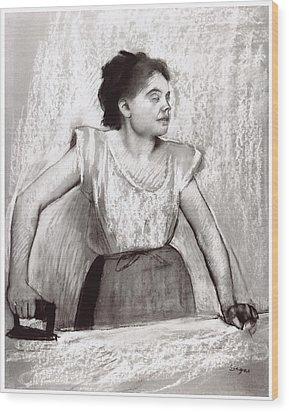 Woman Ironing Wood Print by Edgar Degas