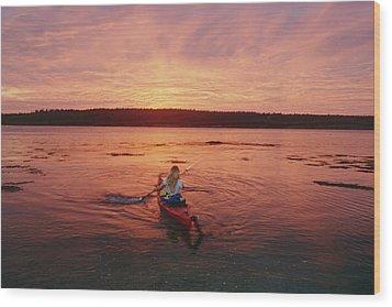 Woman Kayaking At Dusk, Penobscot Bay Wood Print by Skip Brown