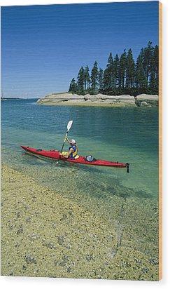 Woman Kayaking, Penobscot Bay, Maine Wood Print by Skip Brown