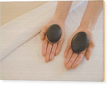Woman Massage Therapist Hands Holding Wood Print by James Forte