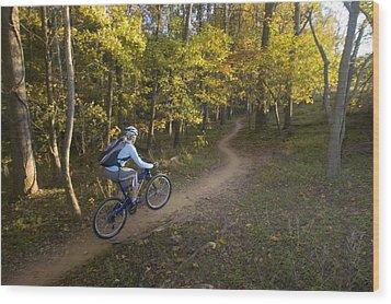Woman Mountain Biker Rides Singletrack Wood Print by Skip Brown