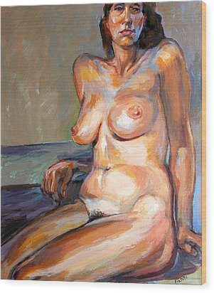 Woman Nude Wood Print by Stan Esson