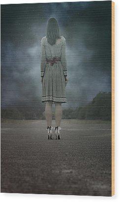 Woman On Street Wood Print by Joana Kruse