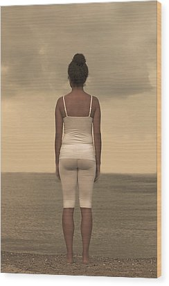 Woman On The Beach Wood Print by Joana Kruse