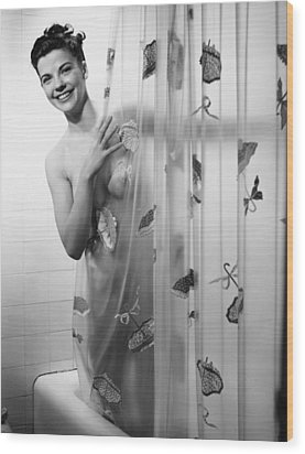 Woman Peering Through Shower Curtain, (b&w), Portrait Wood Print by George Marks