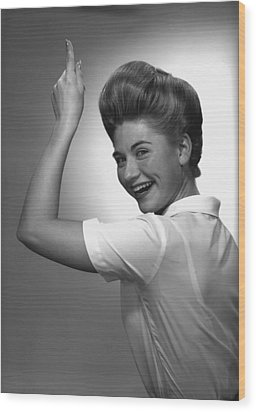 Woman Pointing Up In Studio, (b&w), Portrait Wood Print by George Marks
