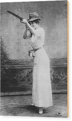 Woman Posed With Shotgun Wood Print by Everett