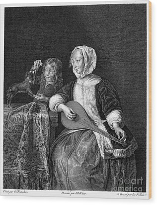 Woman Tuning A Lute Wood Print by Granger