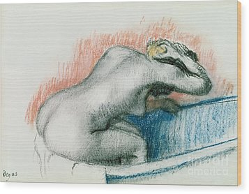 Woman Washing In The Bath Wood Print by Edgar Degas
