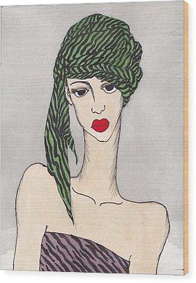 Woman Wearing A Turban Wood Print by Dorrie Ratzlaff