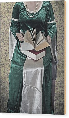Woman With A Book Wood Print by Joana Kruse