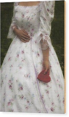Woman With A Heart Wood Print by Joana Kruse
