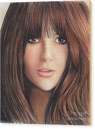 Woman With Brown Hair Wood Print by Muna Abdurrahman