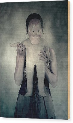 Woman With Doll Wood Print by Joana Kruse