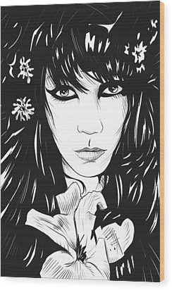 Woman With Flower Wood Print by Giuseppe Cristiano