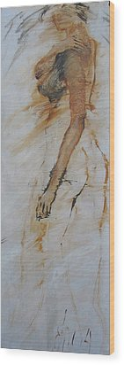 Woman With Hand On Shoulder Wood Print by Elizabeth Parashis