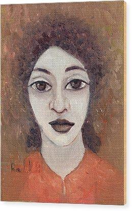 Woman With Large Dark Brown Eyes And Hair Orange Shirt Dark Eyebrows  Wood Print by Rachel Hershkovitz