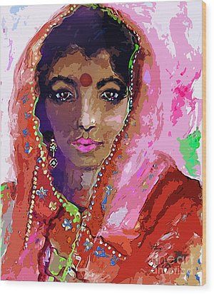 Woman With Red Bindi Indian Beauty Wood Print by Ginette Callaway