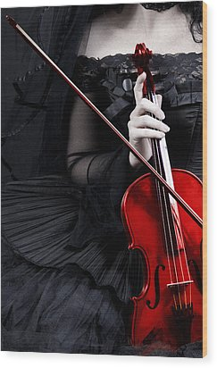 Woman With Red Violin Wood Print