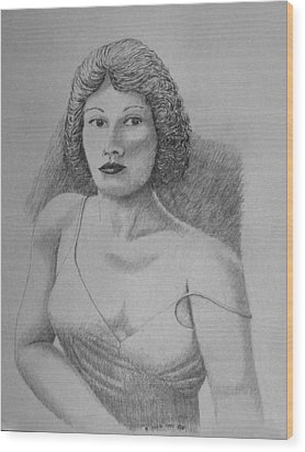 Woman With Strap Off Shoulder Wood Print by Daniel Reed