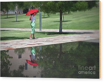 Woman With The Red Umbrella Wood Print by Tamyra Ayles