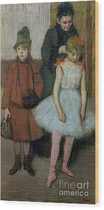 Woman With Two Little Girls Wood Print by Edgar Degas