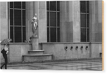 Wood Print featuring the photograph Woman With Umbrella At The Palais Du Trocadero by Louis Nugent