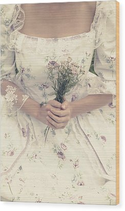 Woman With Wild Flowers Wood Print by Joana Kruse