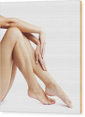 Woman's Legs Isolated On White Background Wood Print