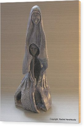 Womb Ceramics Sculpture  In Grey Woman And Child In Her Womb Large Hands Long Hair   Wood Print by Rachel Hershkovitz