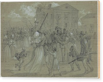 Women And Children Greet Their Loved Wood Print by Everett
