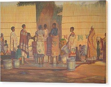 Women At Bolehole Wood Print by Nisty Wizy
