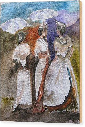 Wood Print featuring the painting Women Of Arles by MaryAnne Ardito