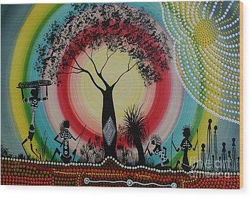 Women Under The Wisdom Tree Wood Print by David Dunn