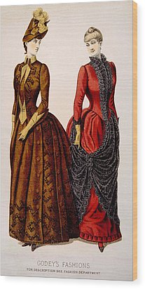 Womens Fashions From Godeys Ladys Book Wood Print by Everett