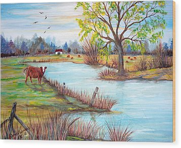 Wonderful Farm Home Wood Print by Janna Columbus