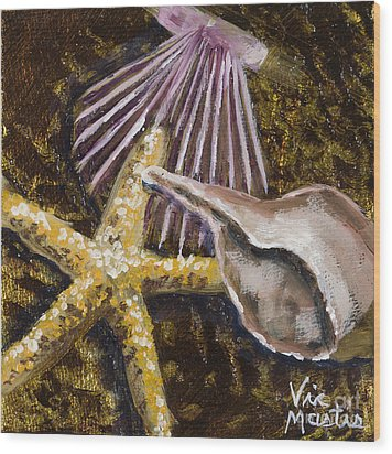 Wonderful Shells And Starfish With Gold Leaf By Vic Mastis Wood Print by Vic  Mastis