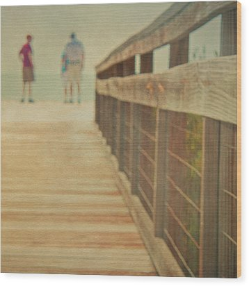 Wood And Mesh Bridge Wood Print by Lynda Murtha