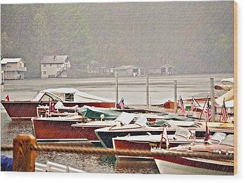 Wood Boats In The Rain Wood Print