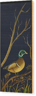 Wood Print featuring the painting Wood Duck by Al  Johannessen
