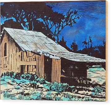 Wood Shed Wood Print by Mike Holder